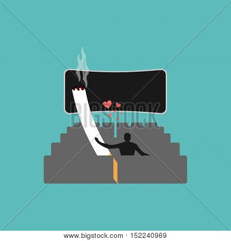 Lover Smoke. Man And Cigarette In Movie. Smoker Watch Cinema. Nicotine Lovers In Film Show. Romantic