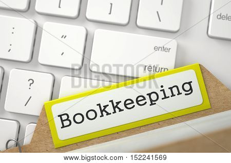 Bookkeeping. Yellow Folder Register Overlies White Modern Computer Keypad. Archive Concept. Close Up View. Selective Focus. 3D Rendering.