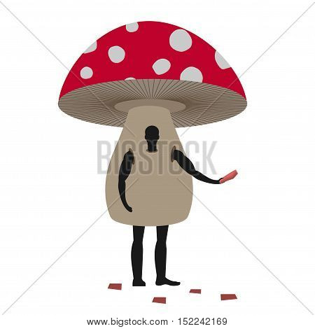 Mushroom Man Mascot Promoter. Male In Suit Amanita Distributes Flyers. Puppets Fungus Engaged In Adv