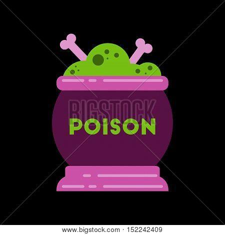 flat icon on stylish background of potion cauldron