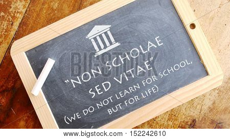 Non scholae sed vitae. Latin phrase meaning We do not learn for school, but for life.