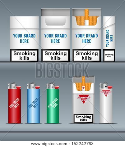 Digital vector silver cigarette pack mockup and lighter, front and lateral view, smoking kills, realistic flat style, isolated and ready for your design and logo