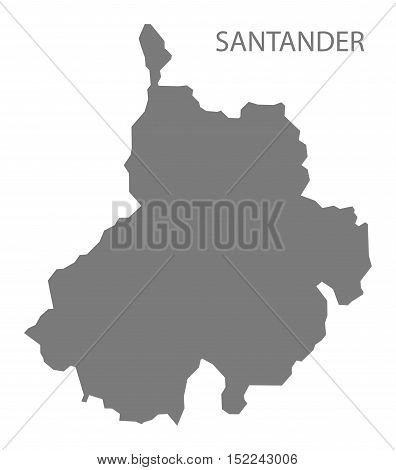 Santander Colombia Map in grey illustration high res