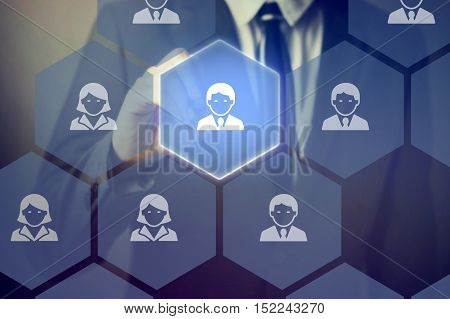 Businessman Selecting The Best And Talented People On Virtual Screen - Recruitment Concept