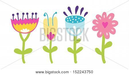 Flat pot with colorful flower. Nature home plant flower and spring decoration nature. Flower garden bloom flat vector. Spring colorful garden flowers