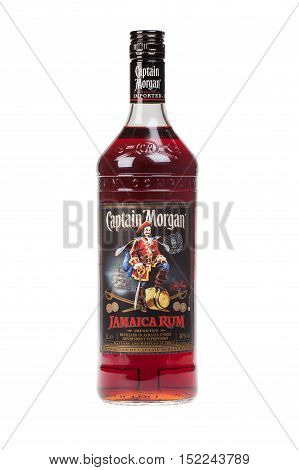VARNA BULGARIA - AUGUST 17.2016: Photo of a bottle of Captain Morgan Rum isolated on white. Captain Morgan is a brand of rum produced by alcohol conglomerate Diageo.