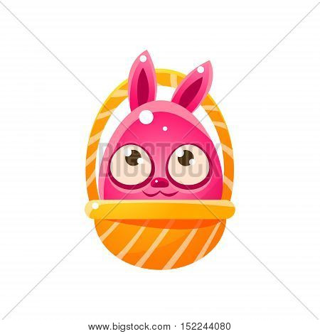 Pink Egg Shaped Easter Bunny In Basket. Bright Color Vector Christian Holyday Icon Isolated On White Background. Cute Childish Animal Character Design.