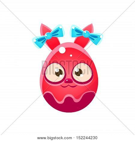Red Egg Shaped Easter Bunny With Ribbons. Bright Color Vector Christian Holyday Icon Isolated On White Background. Cute Childish Animal Character Design.