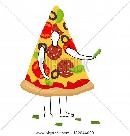 Pizza Man Mascot Promoter. Male In Suit Slice Distributes Flyers. Puppets Food Engaged In Advertisin