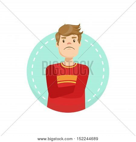 Doubtful Emotion Body Language Illustration. Emotional Facial Expression And Gesture With Man In Red T-shirt In Blue Round Frame .