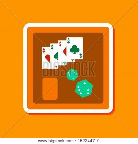 paper sticker on stylish background of board card chip