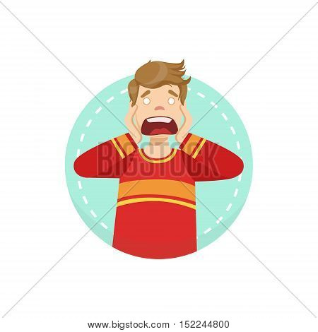 Scared Emotion Body Language Illustration. Emotional Facial Expression And Gesture With Man In Red T-shirt In Blue Round Frame .
