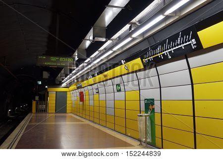 Barcelona, Spain - 24 September 2016: Barcelona metro stop Jaume I. Jaume I is a metro station in Line 4 under avenue Via Laietana.