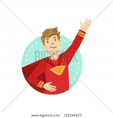 Powerful Emotion Body Language Illustration. Emotional Facial Expression And Gesture With Man In Red T-shirt In Blue Round Frame .