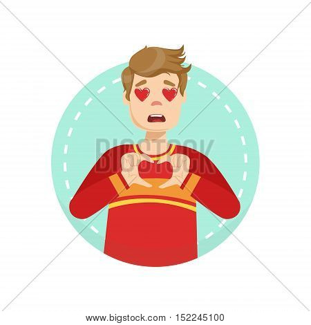 In Love Emotion Body Language Illustration. Emotional Facial Expression And Gesture With Man In Red T-shirt In Blue Round Frame .