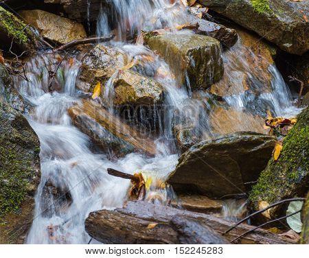 rushing water in creek near Cherokee NC