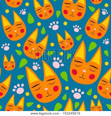 Red cats seamless pattern for kids with leaves and dots on blue background. For fabric textile baby clothes wrapping. Colorful vector. Funny kitty texture. Doodles for your design. Cartoon style.