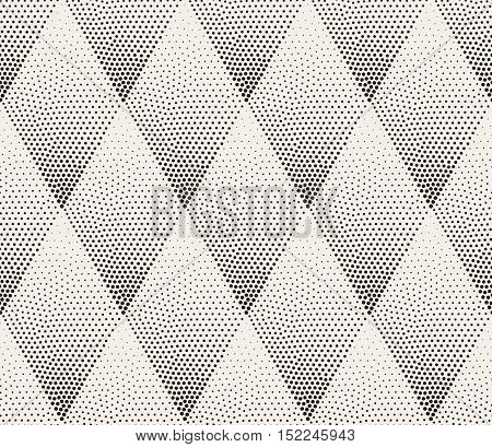 Vector Seamless Black and White Stippling Halftone Gradient Rhombus Pattern. Abstract Geometric Background Design