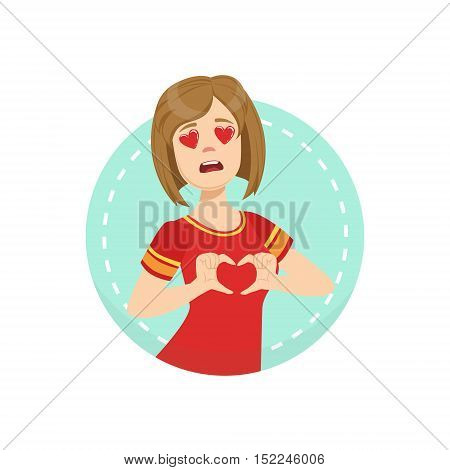 Hearts Before Eyes Emotion Body Language Illustration. Emotional Facial Expression And Gesture With Man In Red T-shirt In Blue Round Frame .