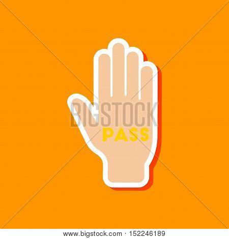 paper sticker on stylish background of hand pass