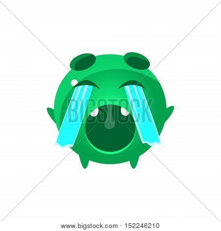 Crying Out Loud Round Character Emoji. Cute Emoticon In Cartoon Childish Style Isolated On White Background.