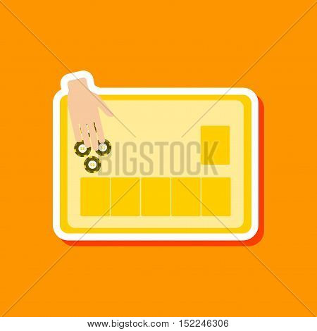 paper sticker on stylish background of game poker table