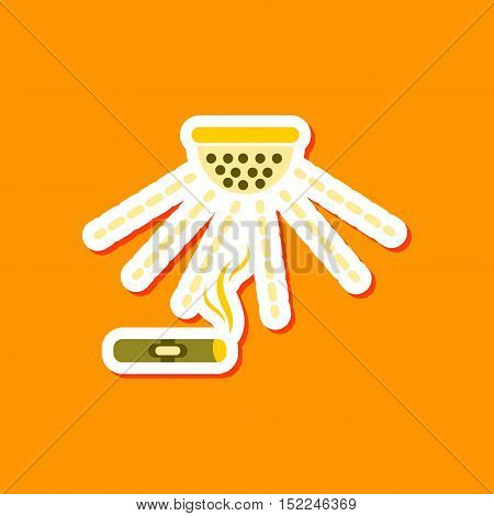 paper sticker on stylish background of cigar smoke alarm