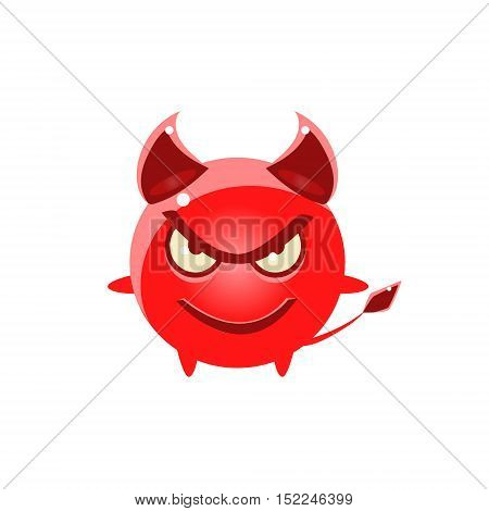 Devil Evil Round Character Emoji. Cute Emoticon In Cartoon Childish Style Isolated On White Background.