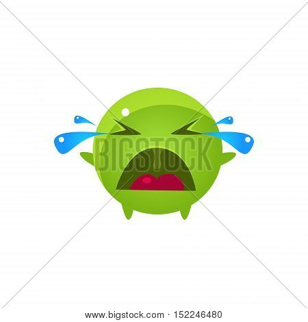 Tearful Round Character Emoji. Cute Emoticon In Cartoon Childish Style Isolated On White Background.