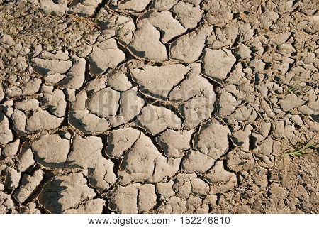 Soil drought cracked into the dry season texture