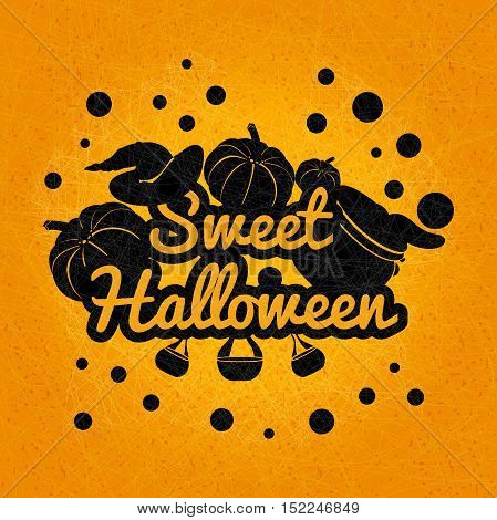 Black Halloween on an orange background. Sweet, happy Halloween poster, postcard. The holiday, pumpkins, witches cauldron, potion, chemical reaction, magic. Banner for Halloween Party Night.