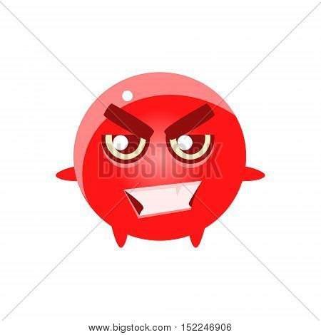 Bad Smiling Round Character Emoji. Cute Emoticon In Cartoon Childish Style Isolated On White Background.