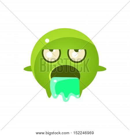 Throwing Up Round Character Emoji. Cute Emoticon In Cartoon Childish Style Isolated On White Background.