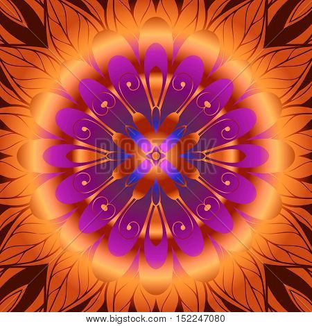 Floral Infinity Digital abstract image with a fractal flower design in orange