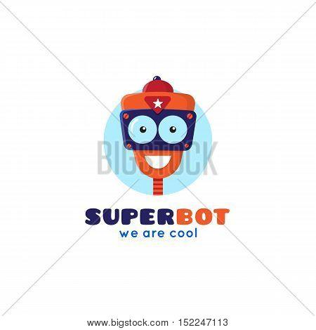 Vector cartoon robot head logo. Cute repair service mascot logotype