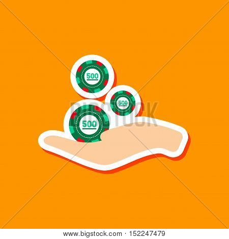paper sticker on stylish background of Casino chips in hand