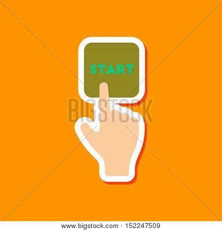 paper sticker on stylish background of hand button start