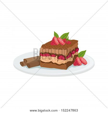 Tiramisu European Cuisine Food Menu Item Detailed Illustration. Cafe Dish In Realistic Design Vector Drawing.