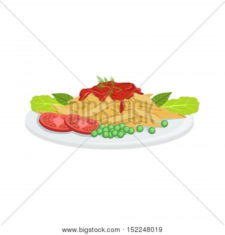 Pasta European Cuisine Food Menu Item Detailed Illustration. Cafe Dish In Realistic Design Vector Drawing.