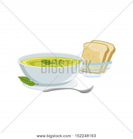 Soup European Cuisine Food Menu Item Detailed Illustration. Cafe Dish In Realistic Design Vector Drawing.