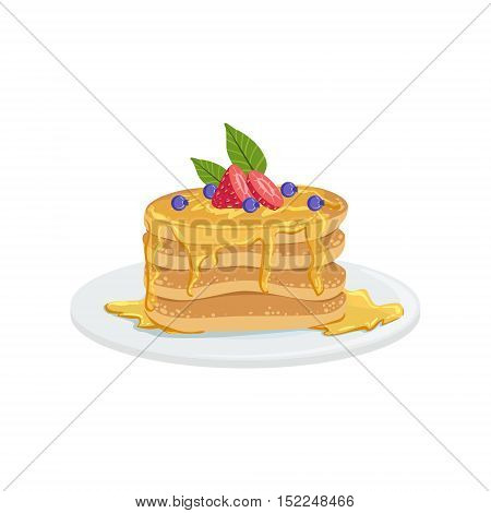 Pancakes European Cuisine Food Menu Item Detailed Illustration. Cafe Dish In Realistic Design Vector Drawing.