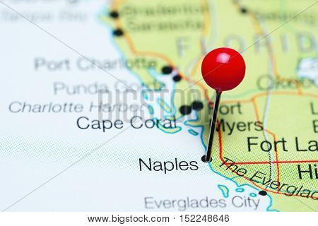 Naples pinned on a map of Florida, USA