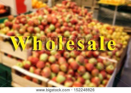 Wholesale concept. Boxes with apples in supermarket