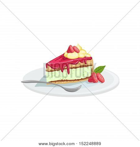 Cheesecake European Cuisine Food Menu Item Detailed Illustration. Cafe Dish In Realistic Design Vector Drawing.
