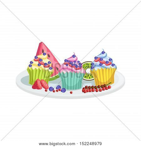 Cupcakes European Cuisine Food Menu Item Detailed Illustration. Cafe Dish In Realistic Design Vector Drawing.