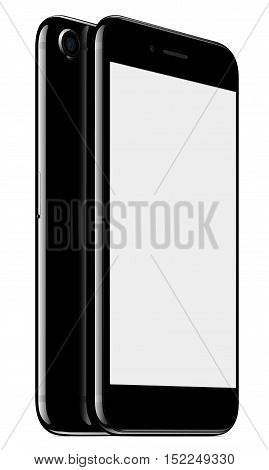 vector mock up phone front and back perspective view on white background, new modern phone