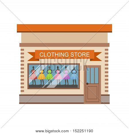 Clothing Store Commercial Building Facade Design. Colorful Detailed Icon In Cartoon Simple Style. Flat Vector Illustration Isolated on White Background