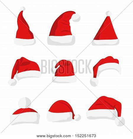 Santa Claus red hat isolated on white. New Year 2017 santa red hat . Santa Christmas hat decoration. vector illustration in flat style
