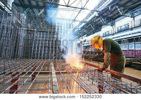 industrial arc welding work