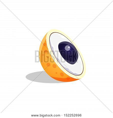 Longan Fruit Cut In Half Bright Icon. Isolated Vector Drawing Of Tropical Exotic Fruit On White Background